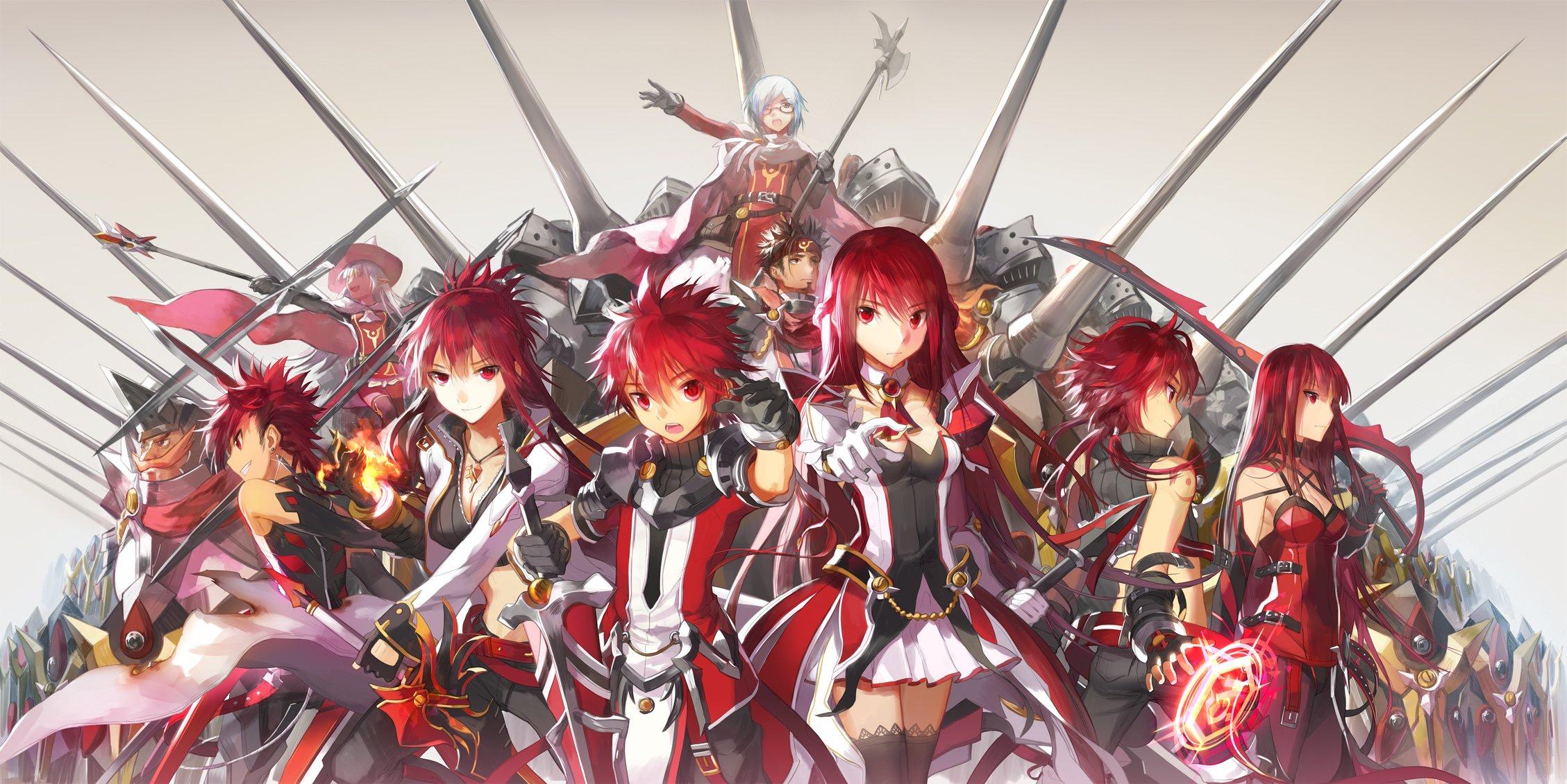 elesis elsword elsword elsword character magic red eyes red hair 2257x1131