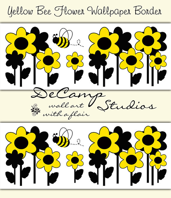 BUMBLE BEE YELLOW Floral Wallpaper Border Wall Decals Baby Girl 570x662
