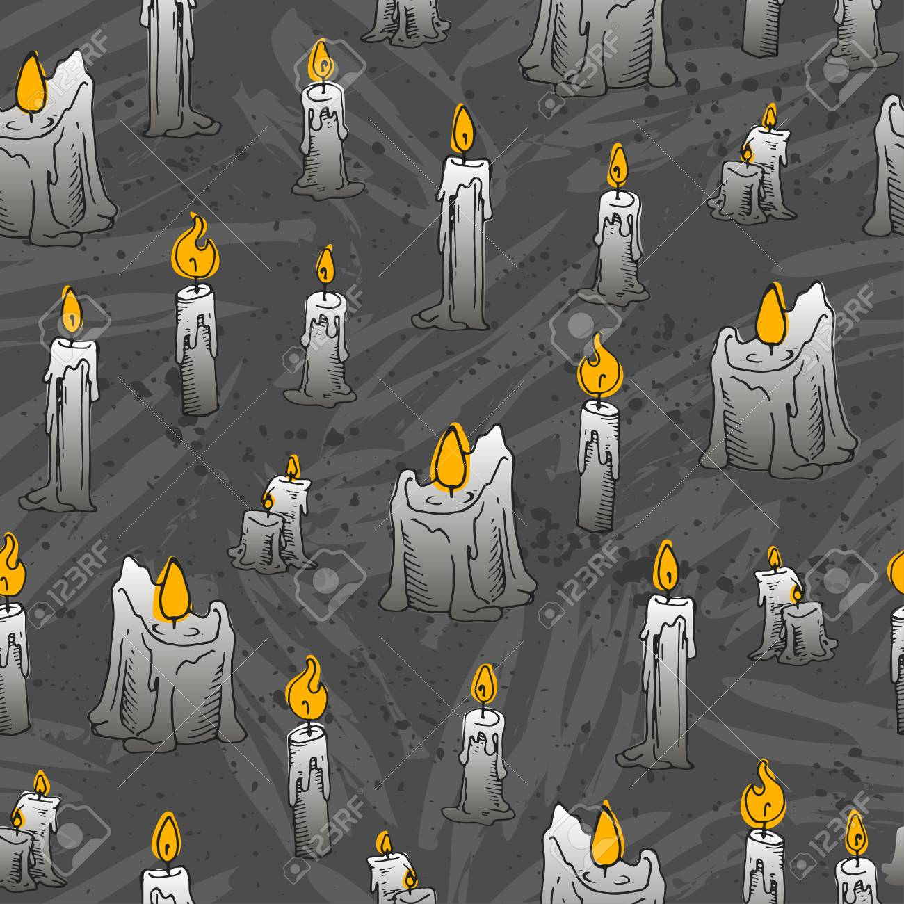 Seamless Candle Pattern For Halloween Holidays Wallpaper Royalty 1300x1300