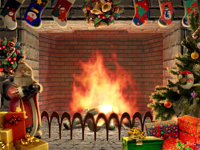desktop nice and cosy with Christmas Living 3D Fireplace Screensaver 640x480
