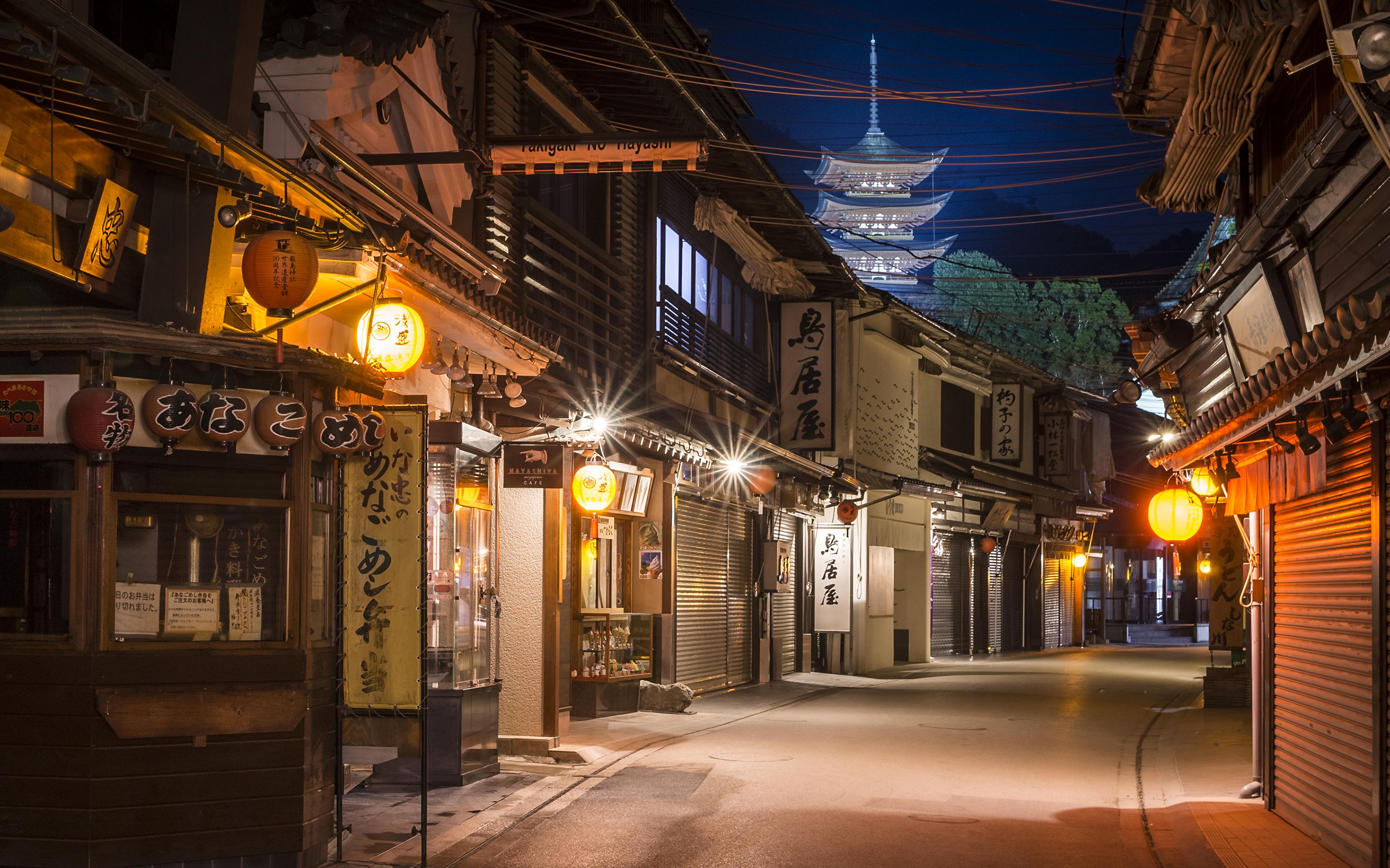 Image Japan Miyajima Street Night Street lights Cities 3840x2400 3840x2400
