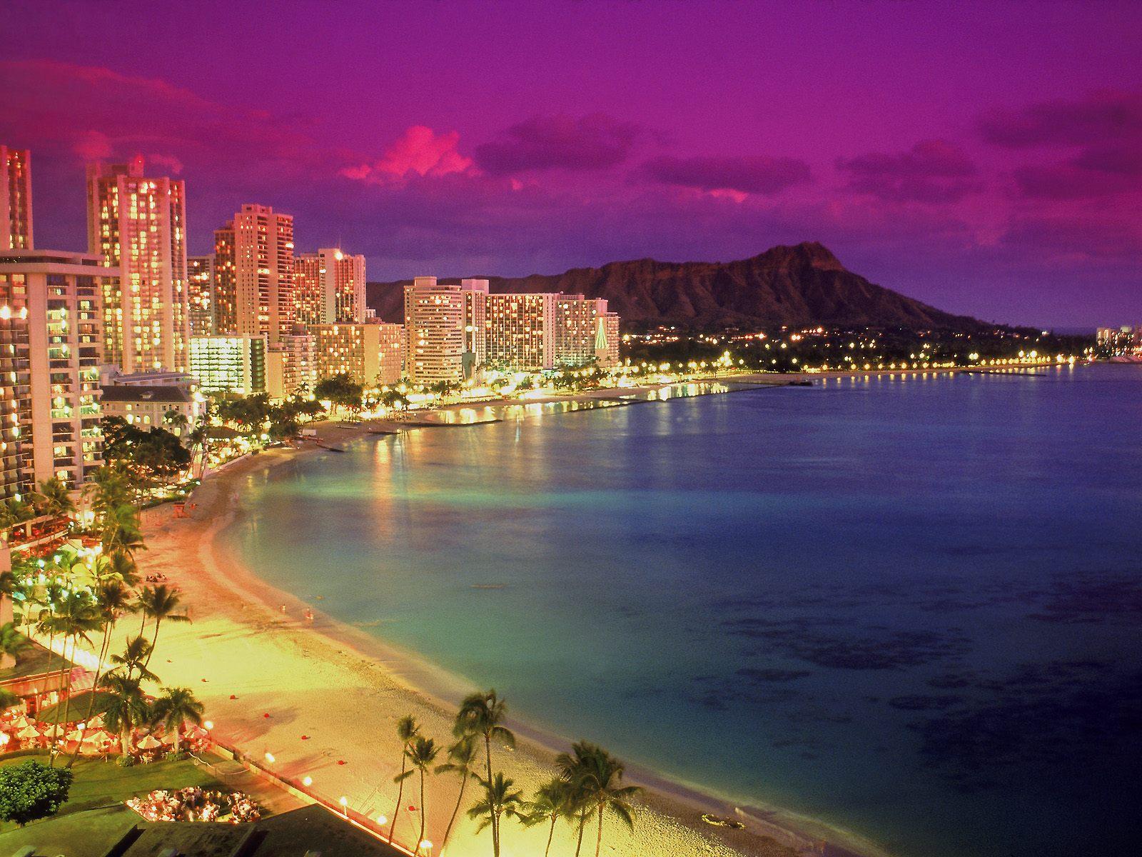 Waikiki at Dusk Hawaii Wallpapers HD Wallpapers 1600x1200