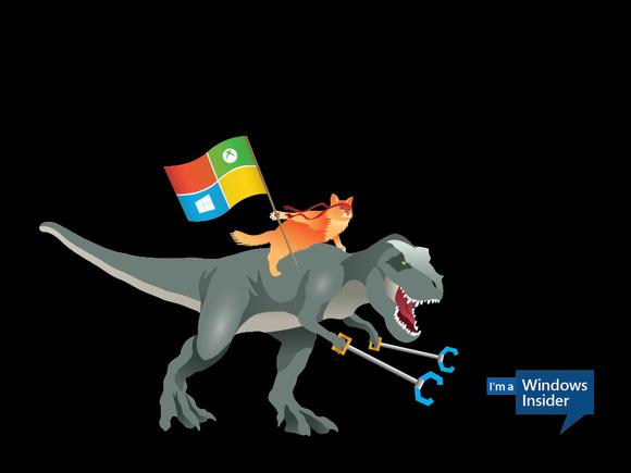 the Windows 10 ninjacat meme with new Microsoft desktop wallpapers 580x435