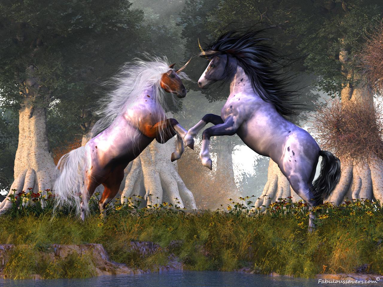 Fantasy Unicorns computer desktop wallpapers pictures images 1280x960