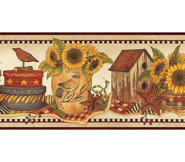 Interior Place   Burgundy Sunflower Crocks Wallpaper Border 2012 CAD 600x525