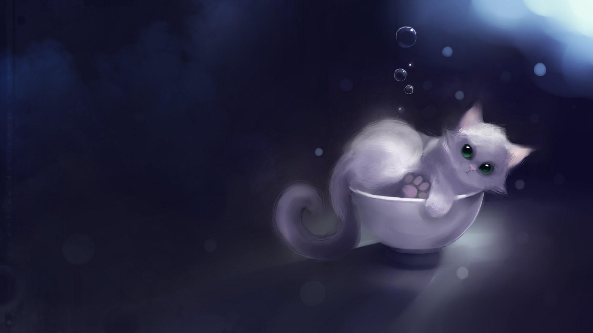 Download Kitten Cat Bubbles Art wallpaper in 3D   Abstract wallpapers 1920x1080