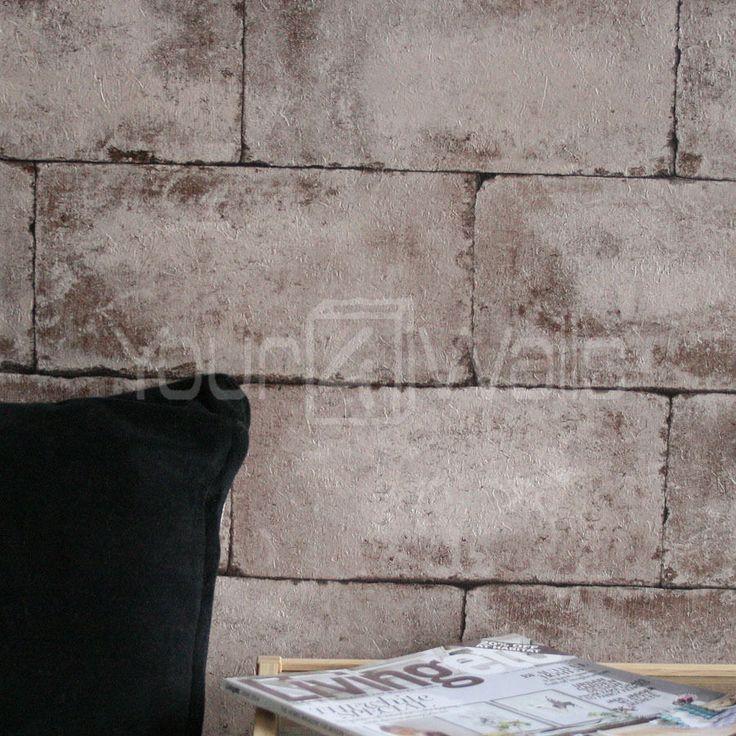 Breeze Block wallpaper Stone Concrete Brick Effect Wallpaper in Beige 736x736