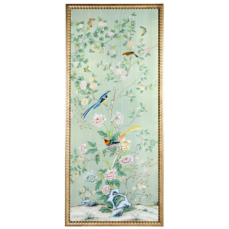 De Gournay Hand Painted on Silk Gilt wood Framed Panel 768x768