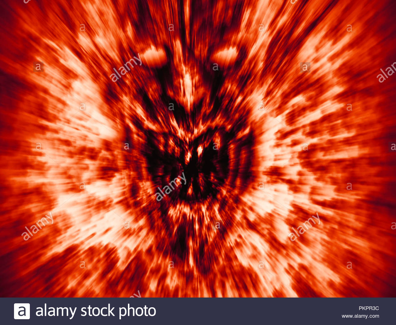 Angry demon face screams in fire Genre of horror Orange color 1300x1065