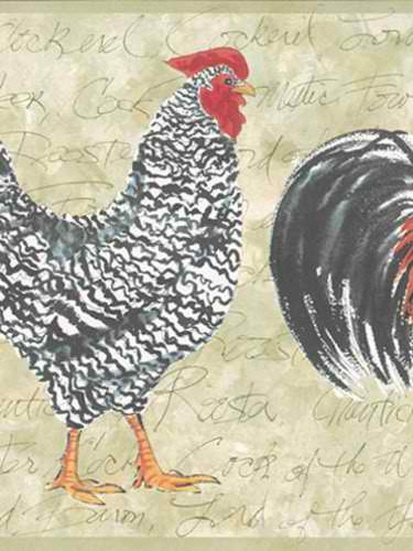 Rooster And Hen Wall Border for Pinterest 375x500