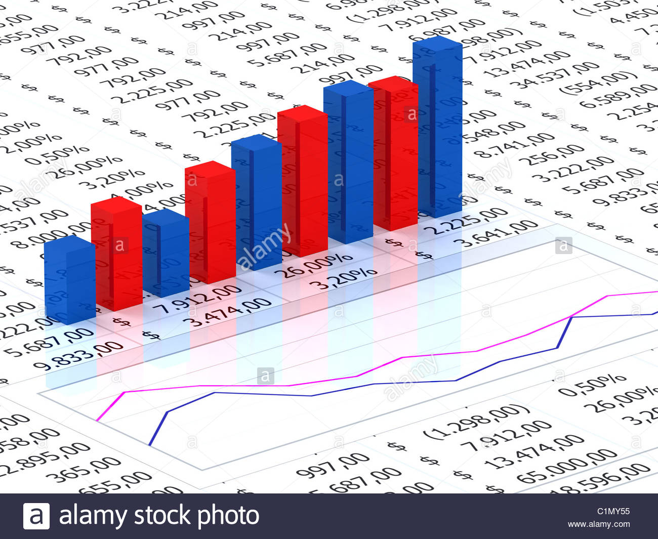 Spreadsheet with blue and red graph bars with numbers in 1300x1065