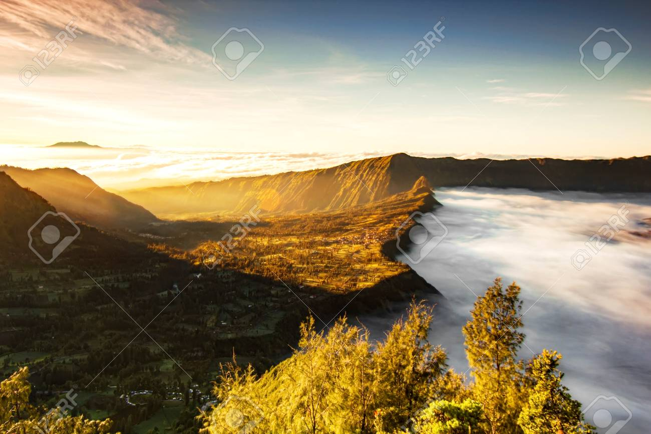 Bromo Village On The Mountain Cliff Background With Sunrise And 1300x866