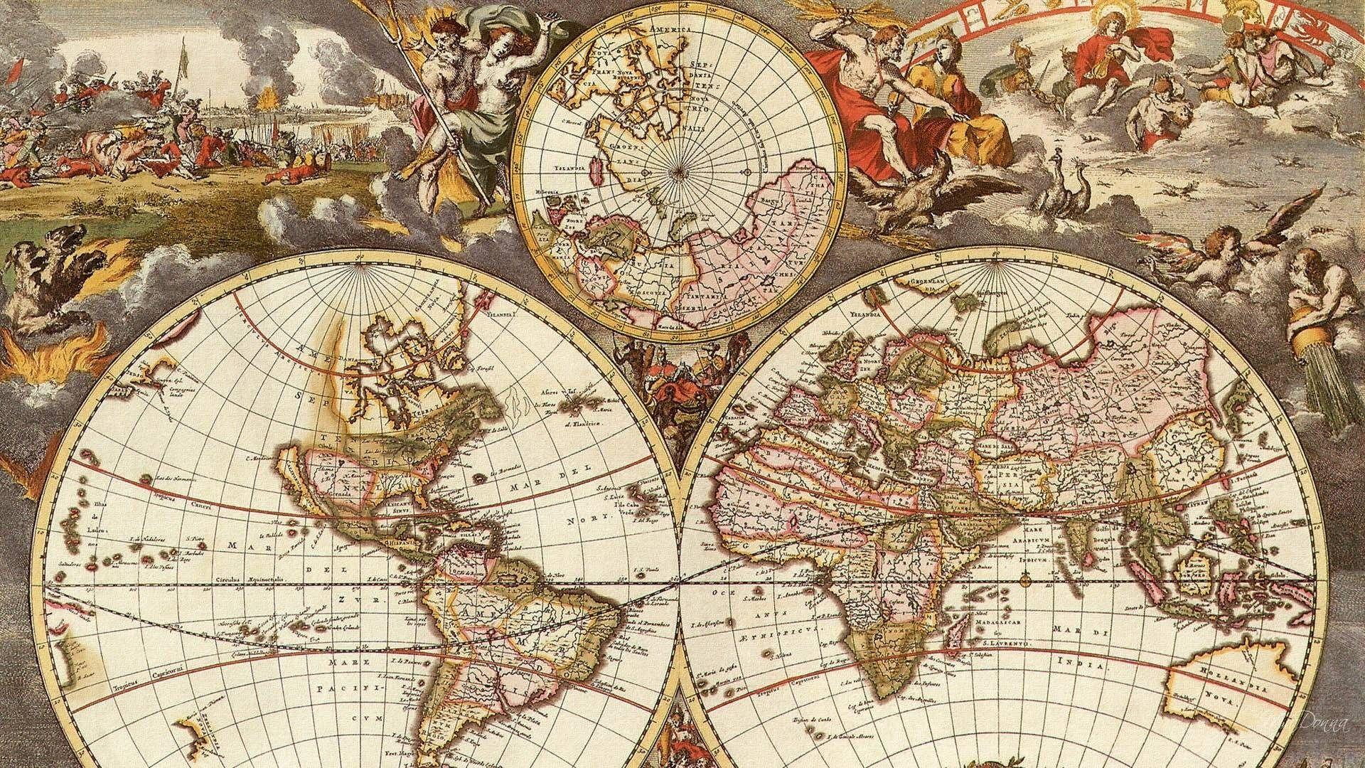 antique map full hd wallpaper ololoshenka Antique world map 1920x1080