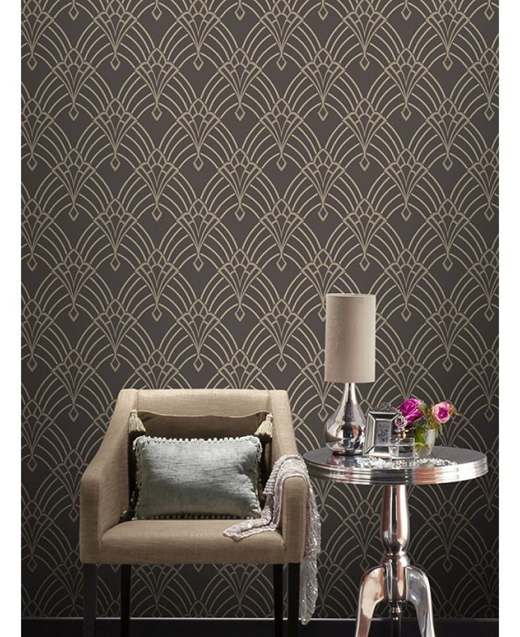 Astoria Deco Wallpaper Charcoal and Silver Rasch 305319 Interior 736x901
