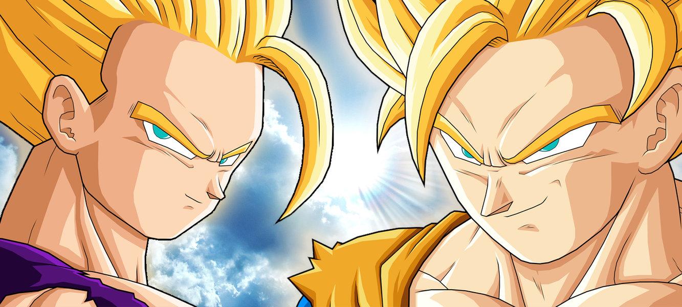 SSJ2 Teen Gohan vs SSJ2 Goku by Havoc419 1333x600