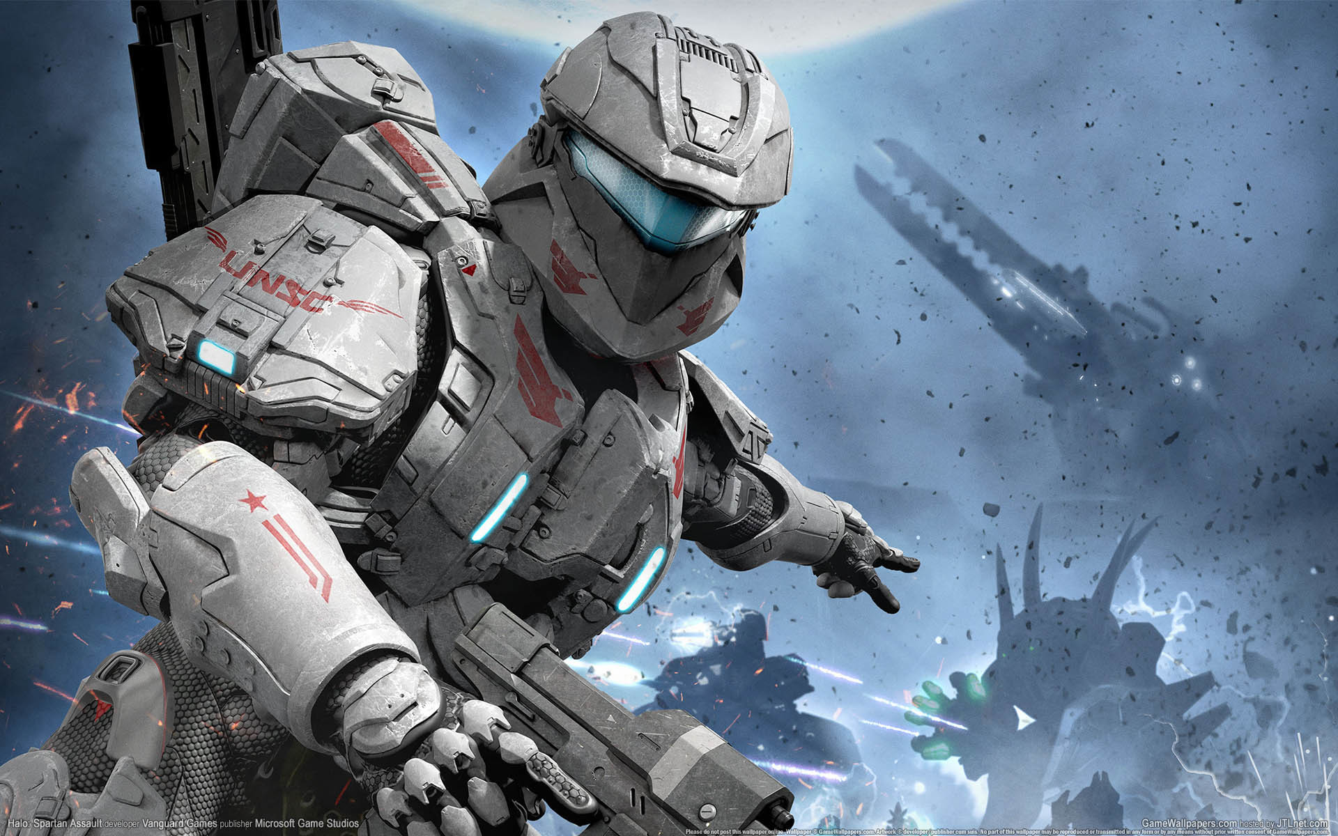 halo spartan assault game wallpapers halo space planet battle 1680x1050