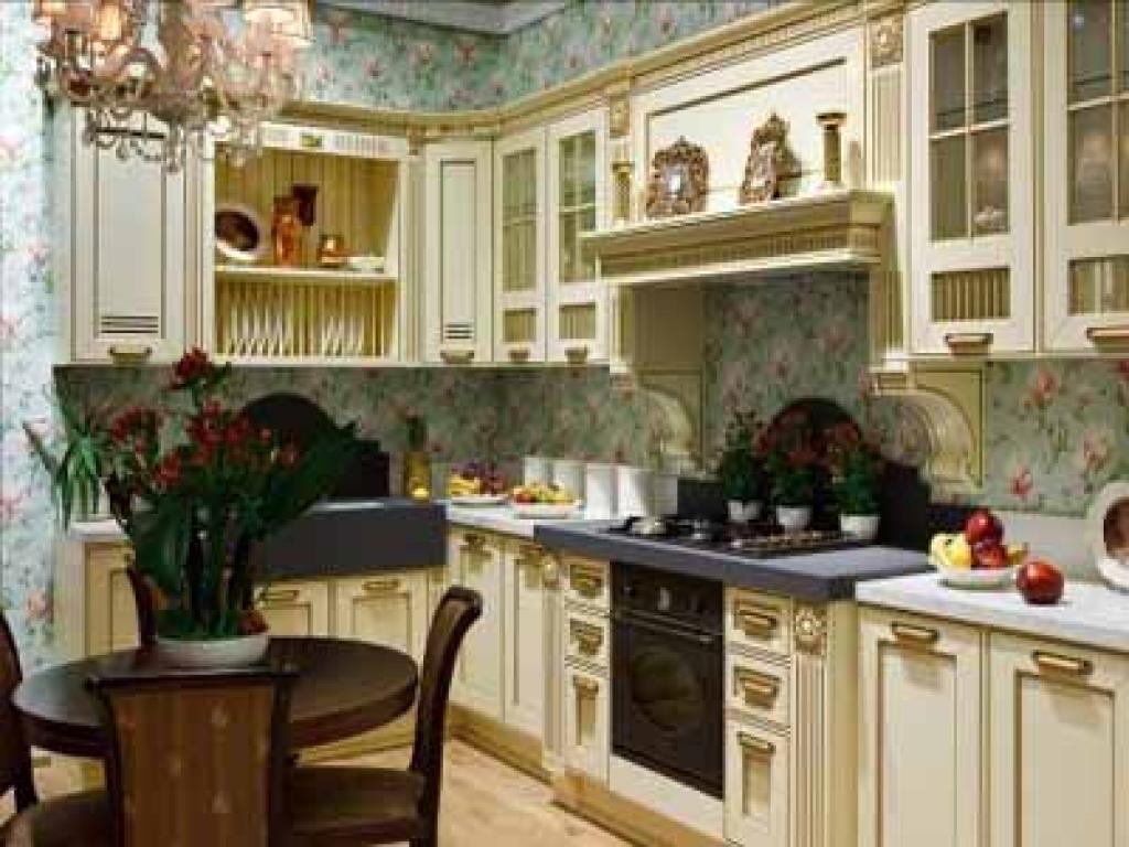 Flower wallpaper modern kitchens wood kitchen cabinets 1024x768