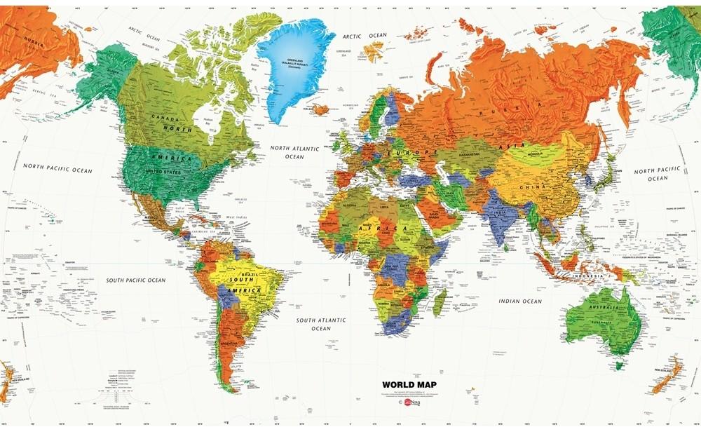World Map Murals Wallpaper WallpaperSafari - Map of the world wallpaper for kids