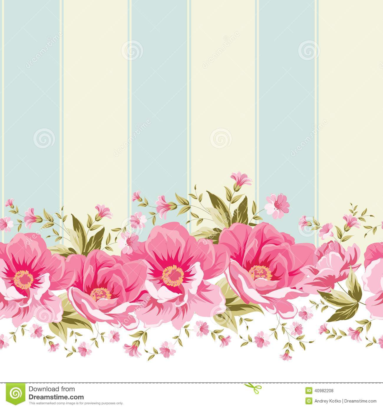 Free Download Ornate Pink Flower Border With Tile Elegant Vintage