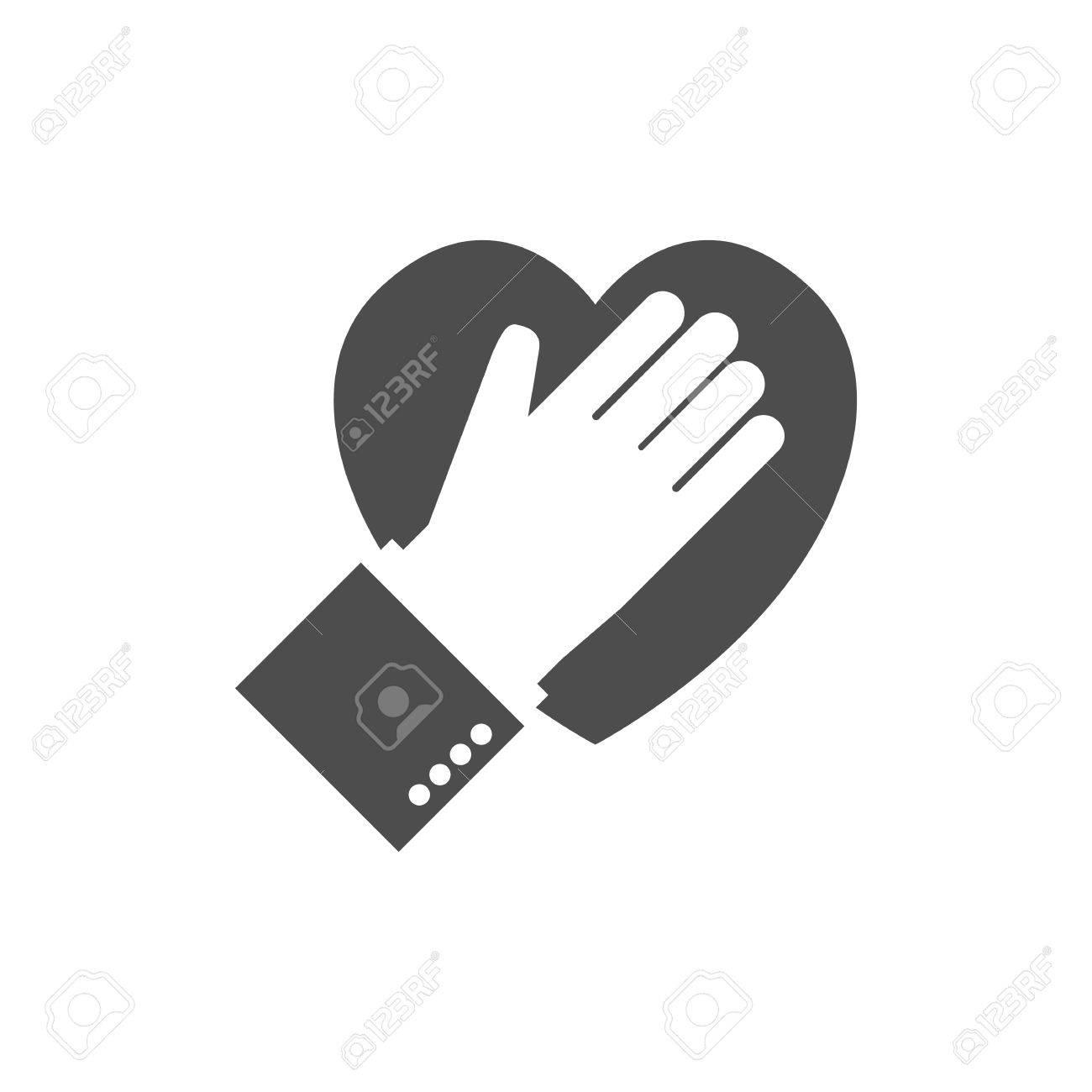 Hand On Heart Icon Logo Flat Design Pledge Icon Vector 1300x1300