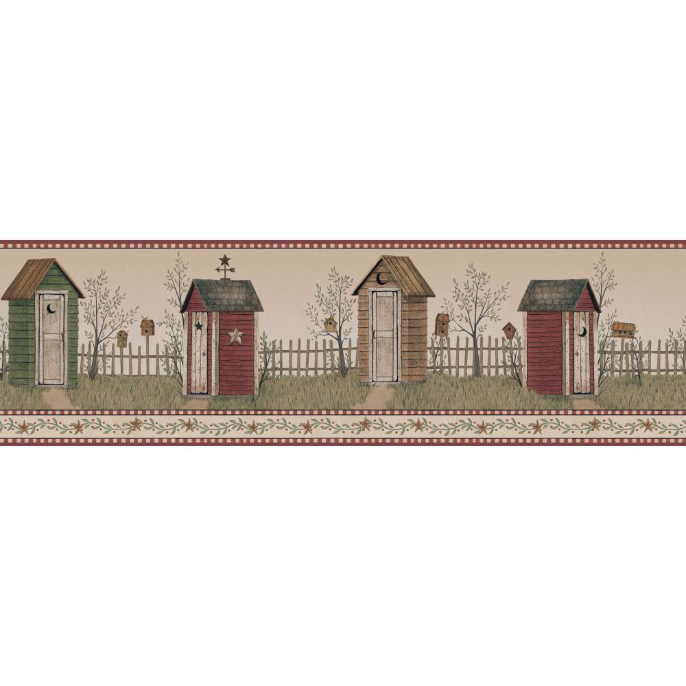 Folk Art Country Outhouse Wallpaper Border 1000x1000