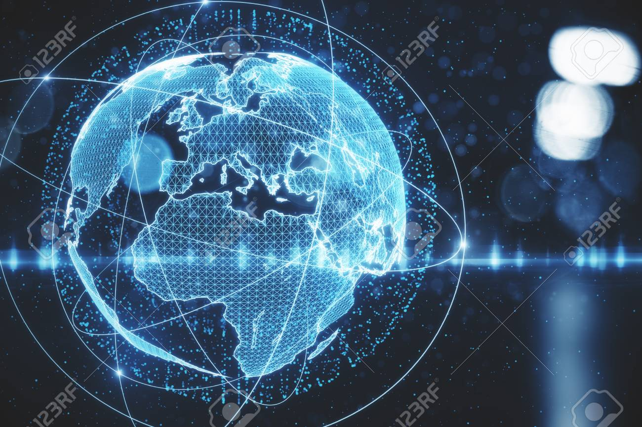 Abstract Digital Globe On Blurry City Background Broadcast 1300x866