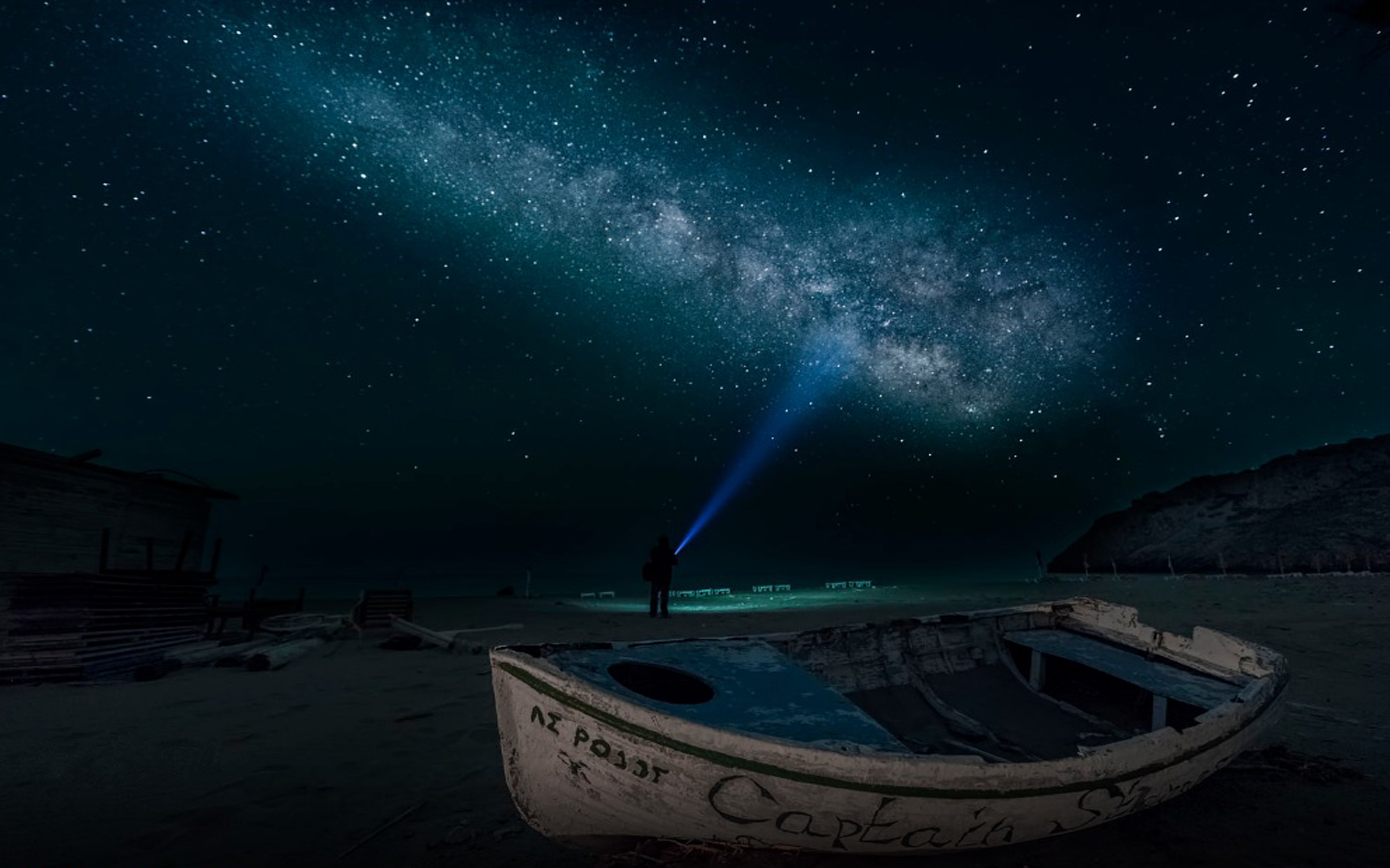 Sandy Beach At Night Time Boat Sky Star Digital Art 2880x1800