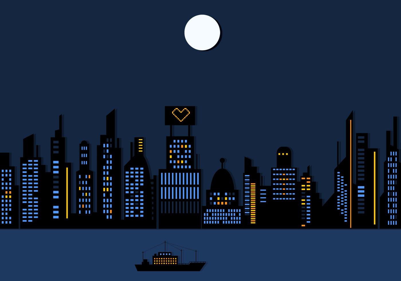 Night Time City Skyscraper Wallpaper Vector   Download Vector Art 1400x980