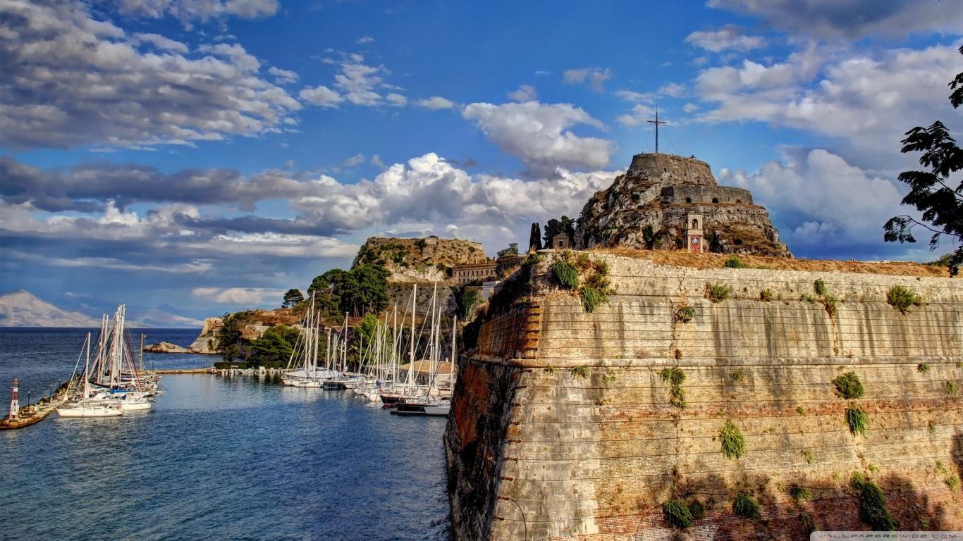 Greece Sky Coast Corfu Clouds 4K HD Desktop Wallpaper for 4K 1366x768