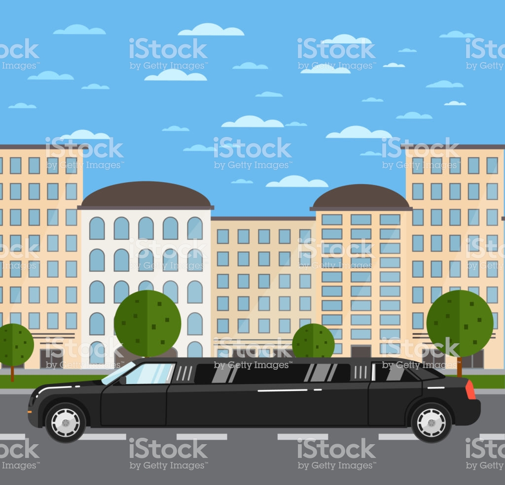 Black Luxurious Limousine On Road In City Stock Vector Art More 1024x985