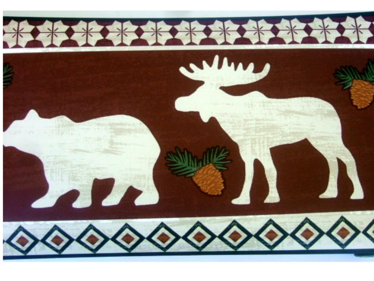 Bears Moose Lodge Wallpaper Border 1198x899