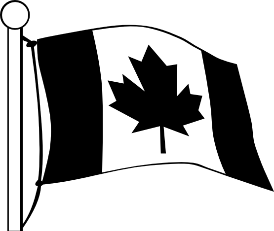 Canadian Flag Black and White 1 A Celebrity Mag 555x469