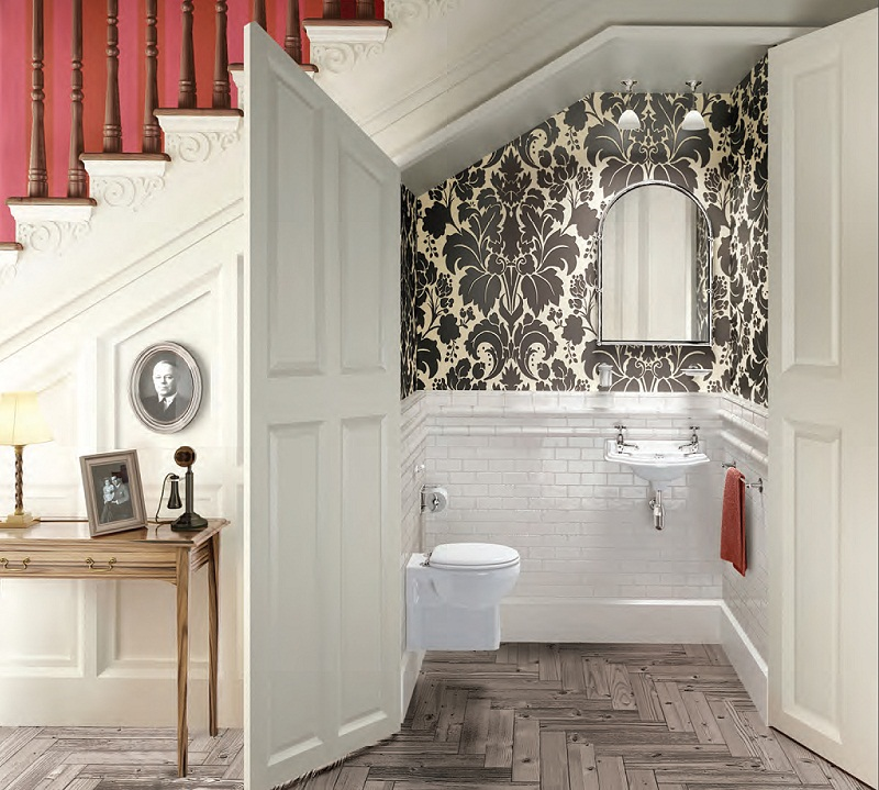 White Bathroom Under Stairs Design Idea Pictures Photos Images 800x719