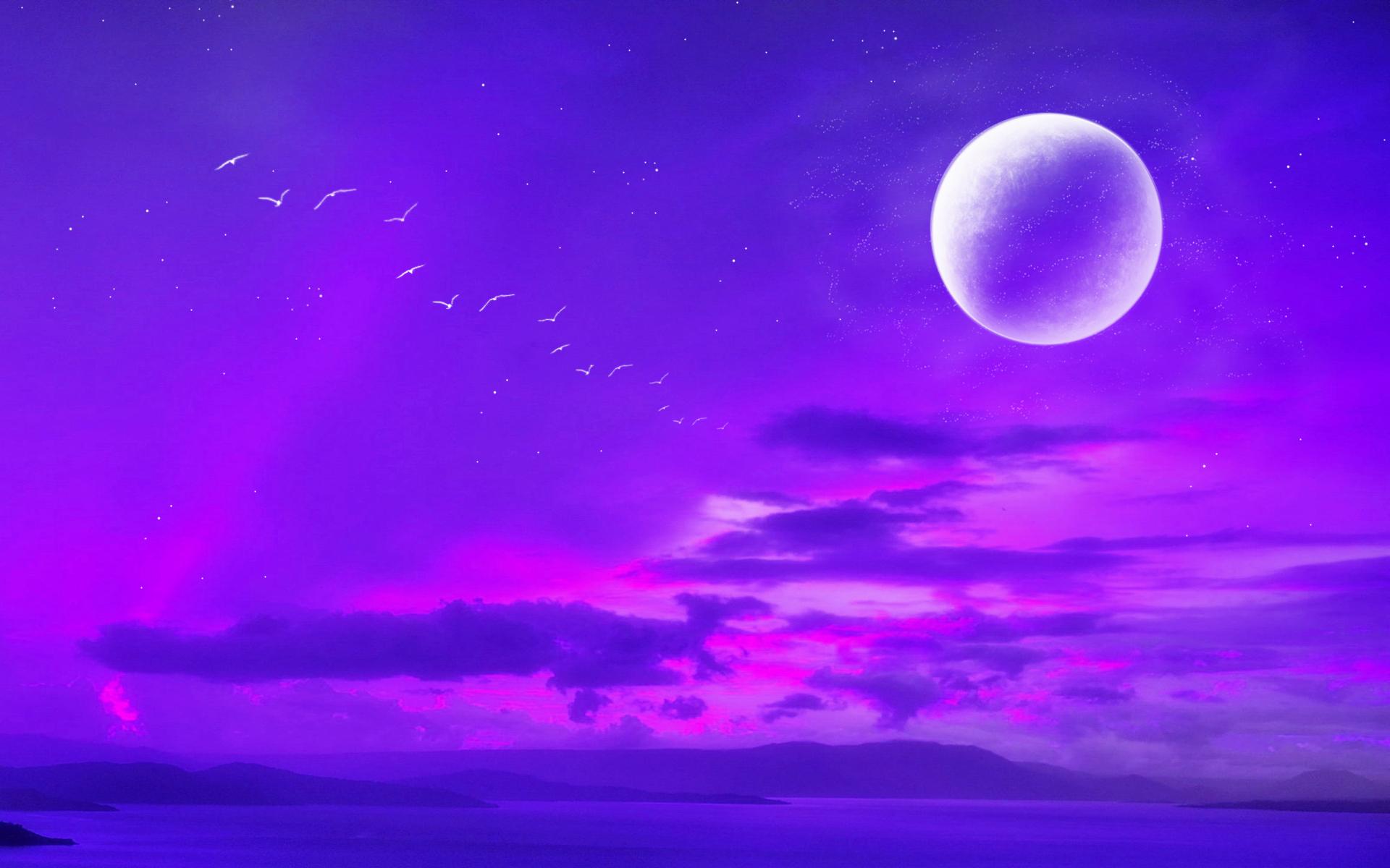 render moon night river dreaming landscape hd wallpaper 1920x1200