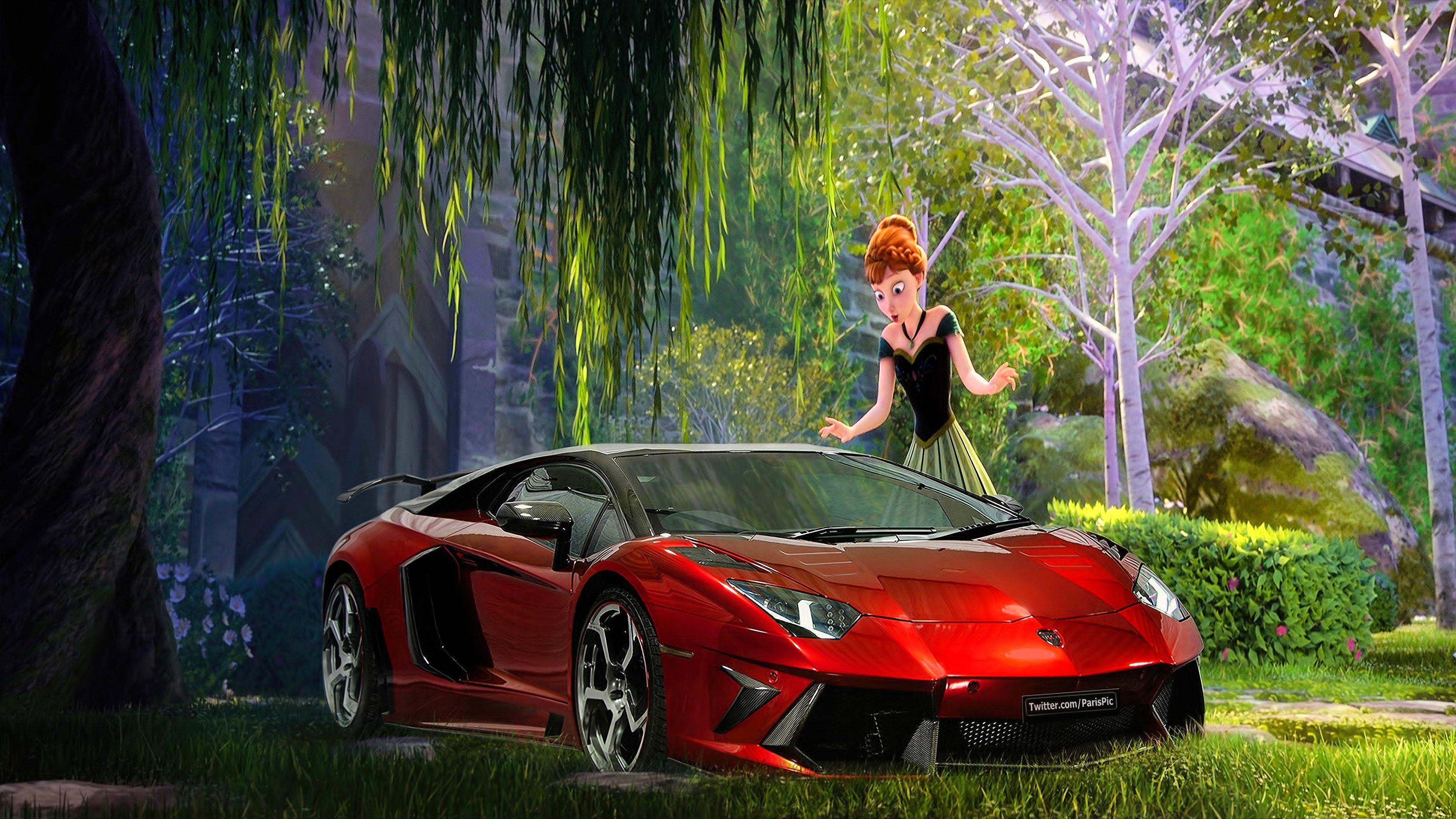 Frozen Anna Elsa 2013 Wallpaper Lamborghini 4K ParisPic   Disney 3840x2160