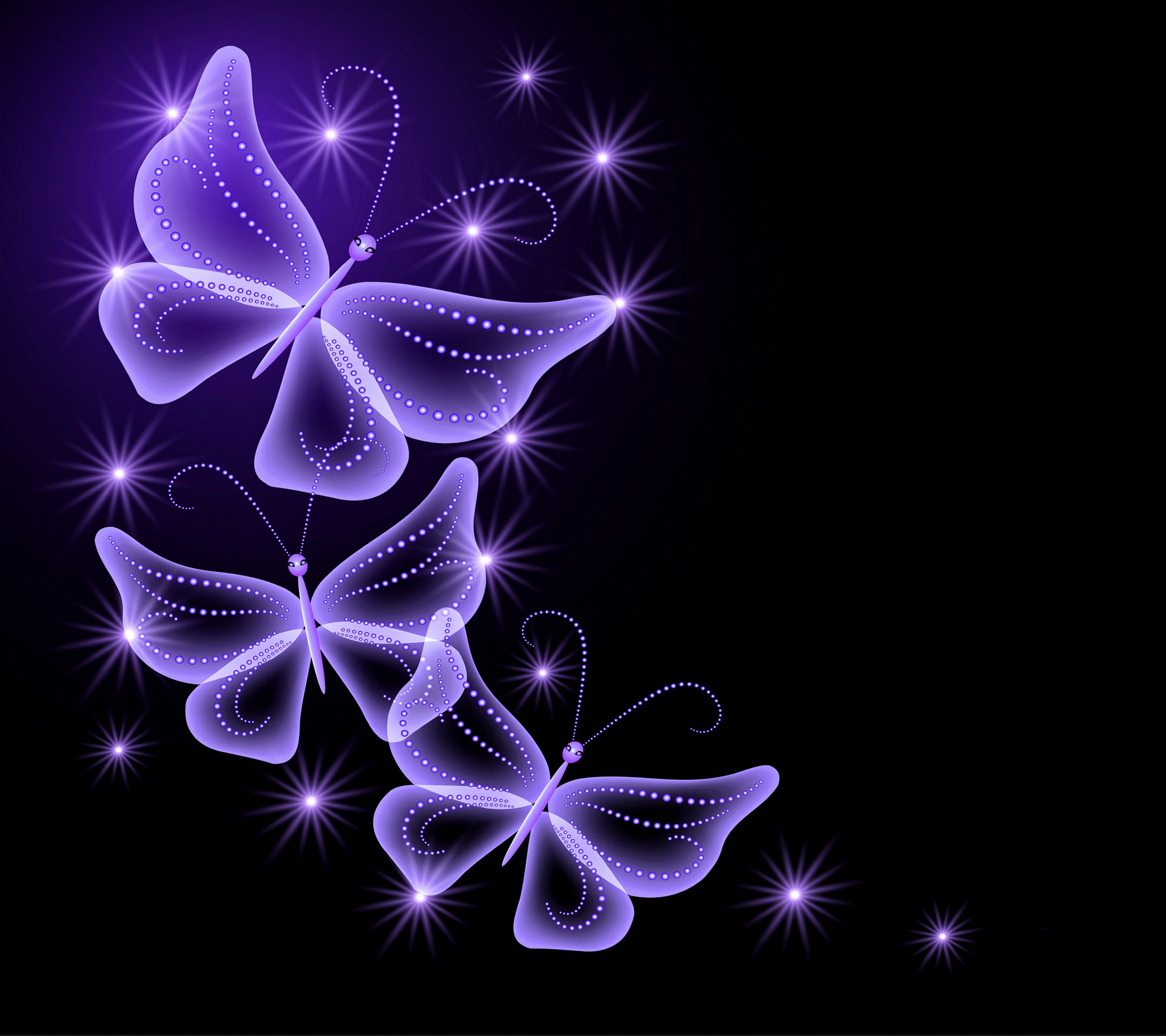 Wallpaper neon butterflies abstract purple sparkle glow 2160x1920