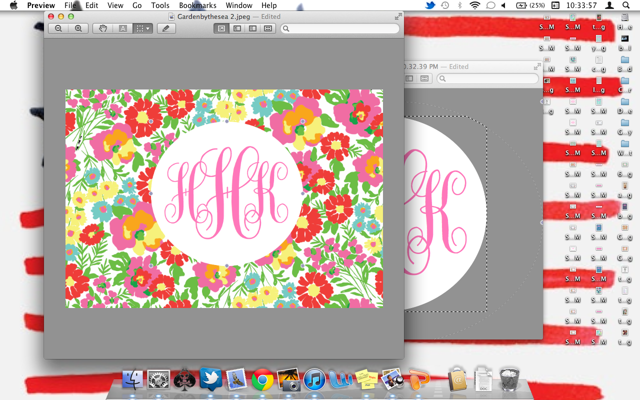 Paste the monogram on top of the print and resize it any way you like 1280x800