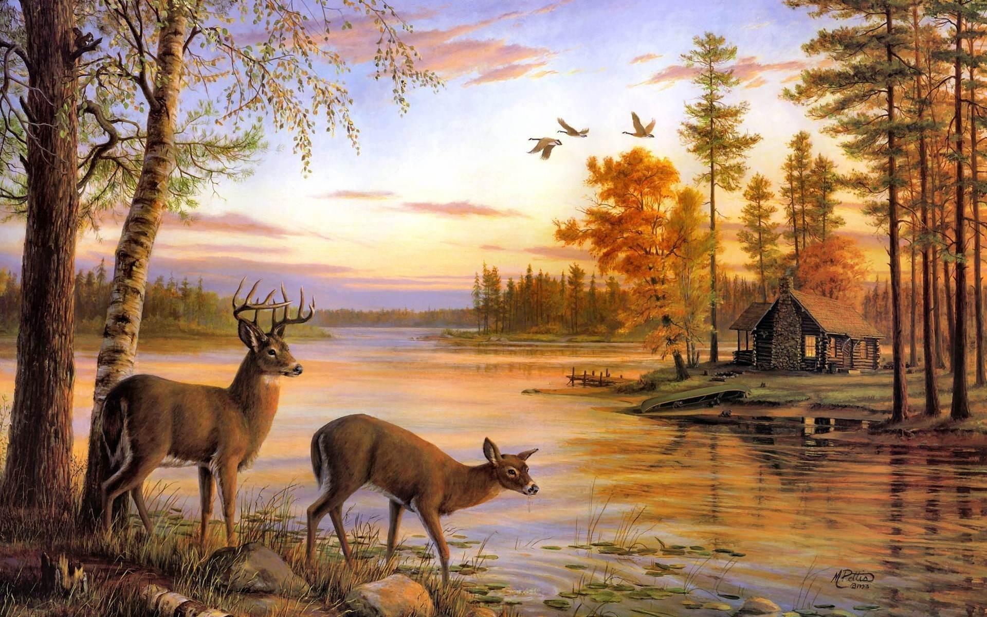 deer artwork cabin lakes 1920x1200 wallpaper High Resolution Wallpaper 1920x1200