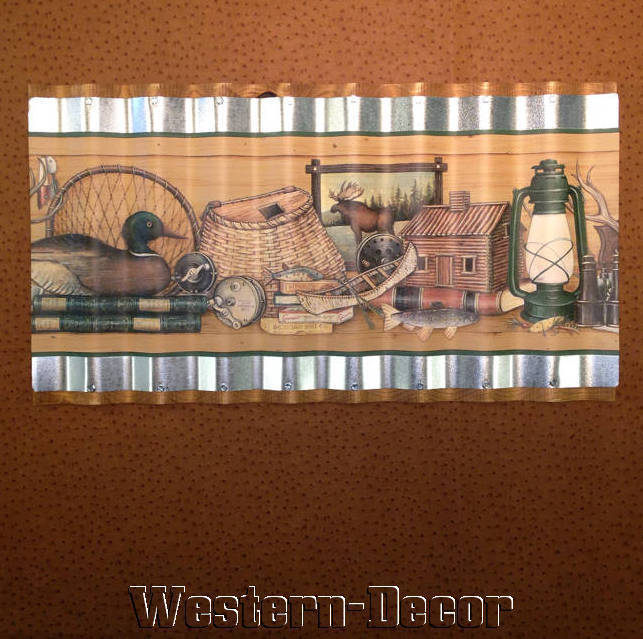 Art Metal Fishing Hunting Duck Cabin Wallpaper Border Picture eBay 643x639