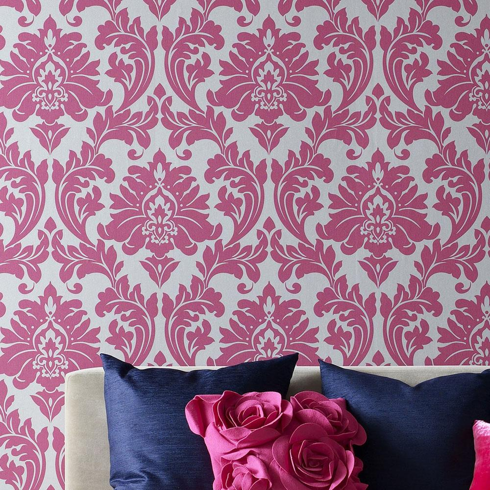 definition wallpapercomphotopink and white damask wallpaper4html 1000x1000