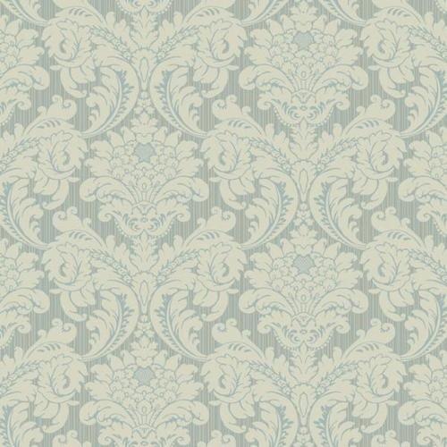 York Wallcoverings Blue Cream Damask Wallpaper 500x500