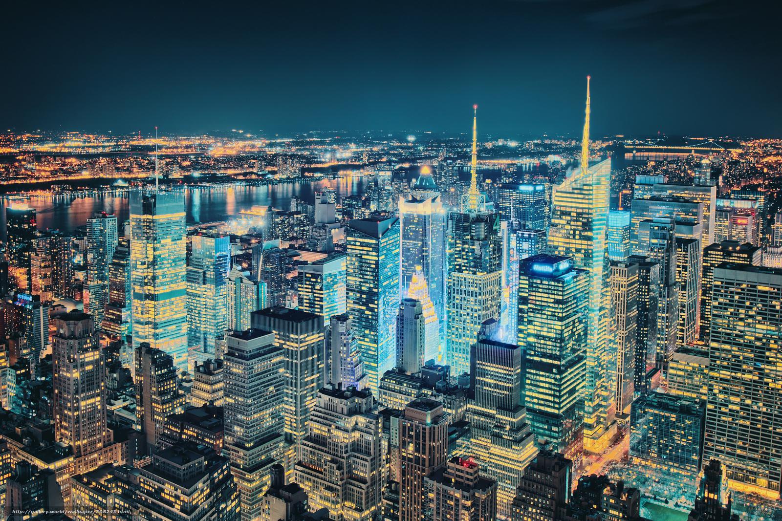 wallpaper New York evening night lights desktop wallpaper 1600x1066