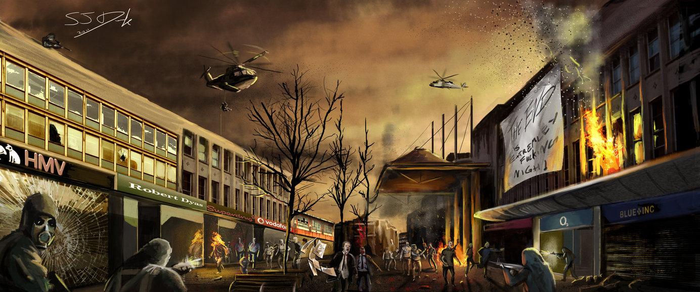 Zombie Apocalypse Southampton by SamDenmarkArt 1384x577