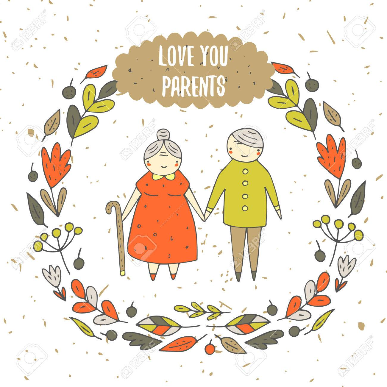 Cute Hand Drawn Doodle Card Background With Parents Old Couple 1300x1300