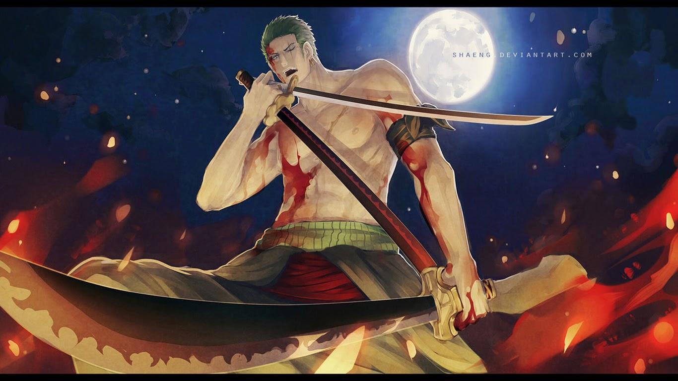 zoro 3 sword style full moon blood night scar anime hd wallpaper y06 1366x768