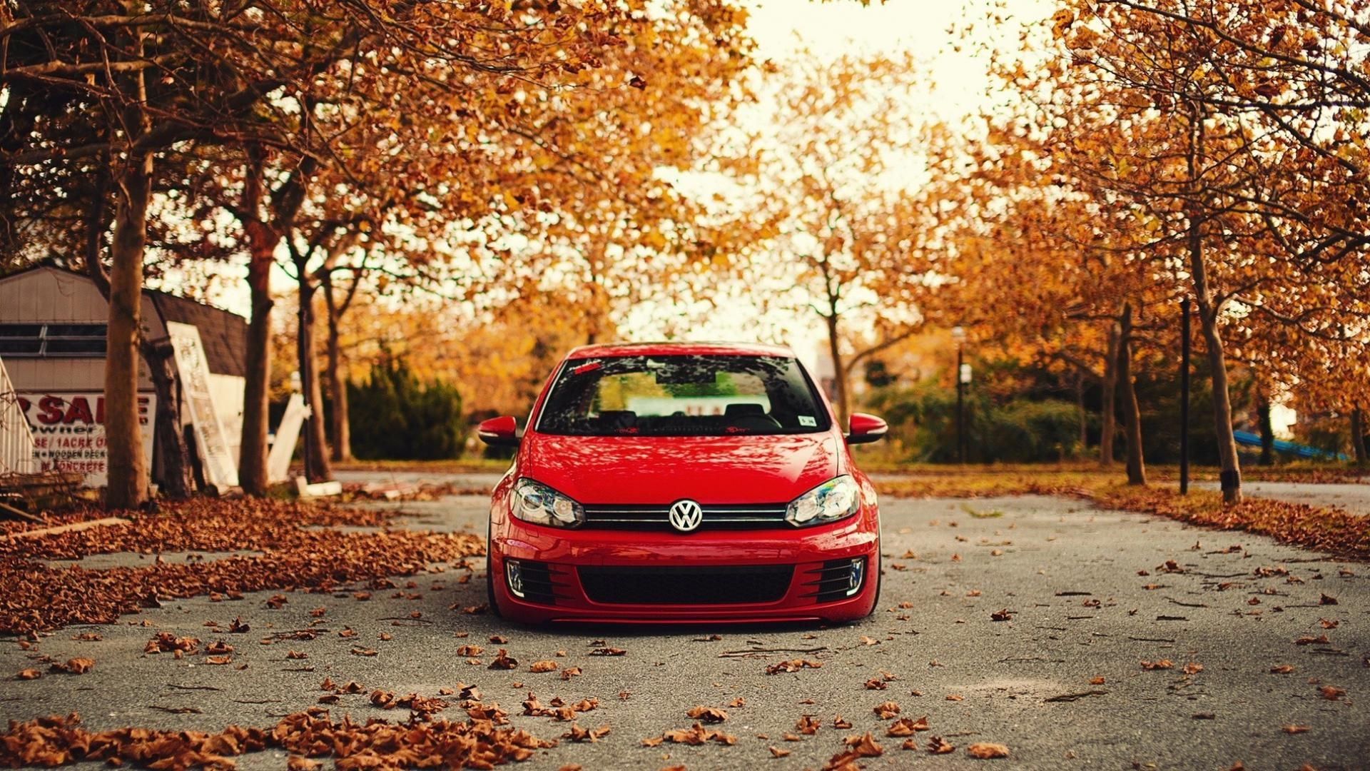 Nature trees cars leaves volkswagen golf r wallpaper 41233 1920x1080