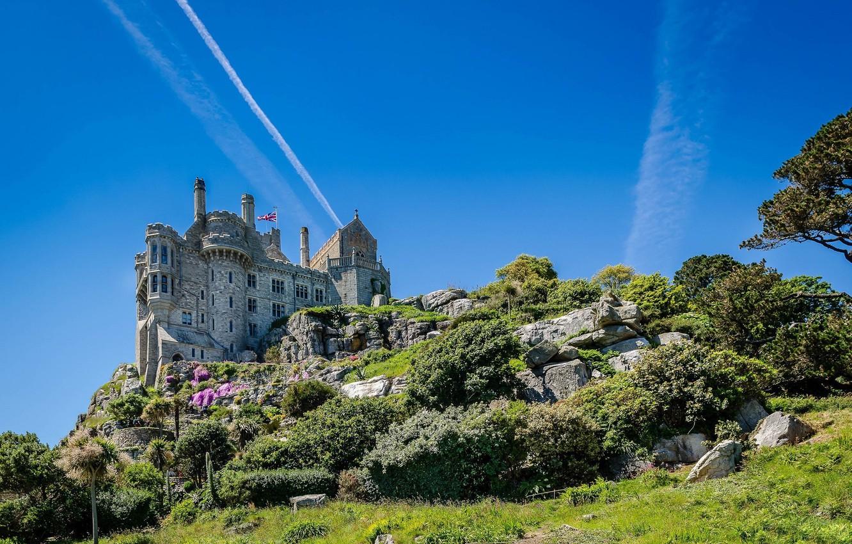 Wallpaper castle England Cornwall Cornwall St Michaels Mount 1332x850