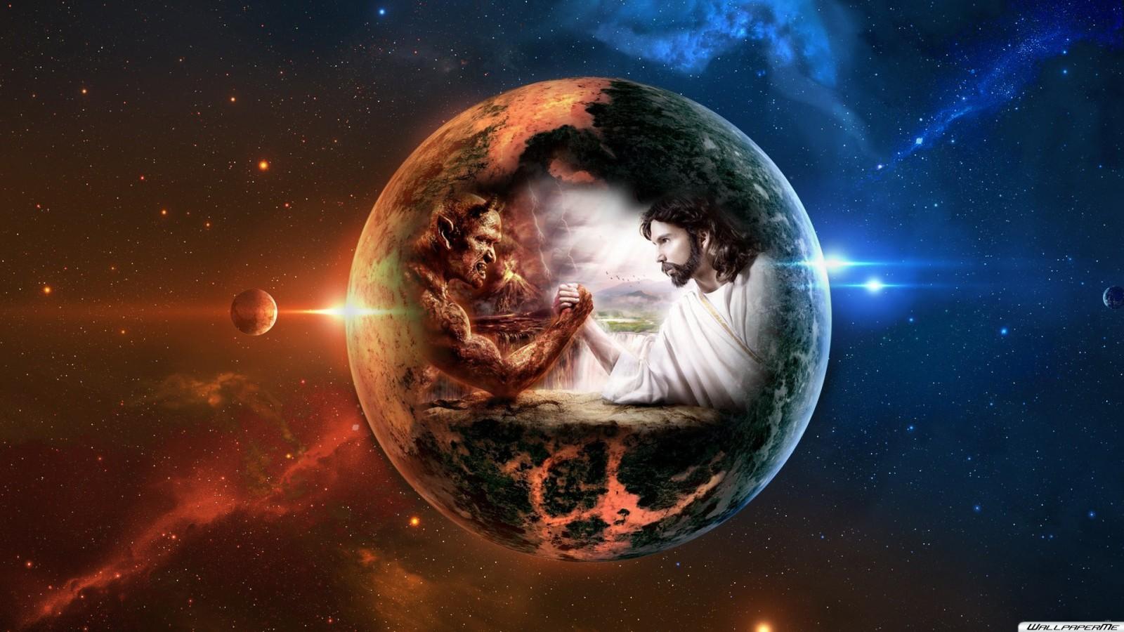 God vs Devil 1600x900 Wallpaper | Hintergrundbilder
