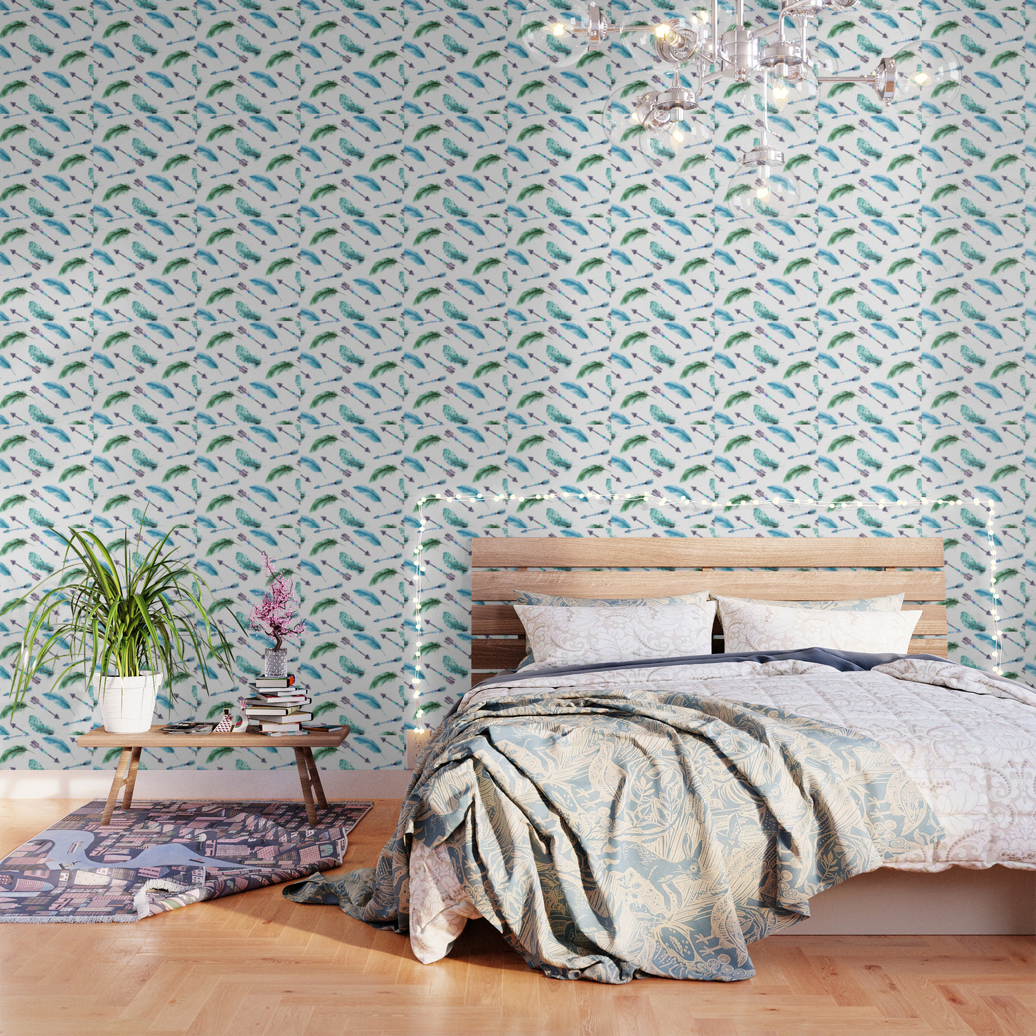 Autumn Hunt Arrows Feathers Wallpaper by floralpatterns Society6 1500x1500