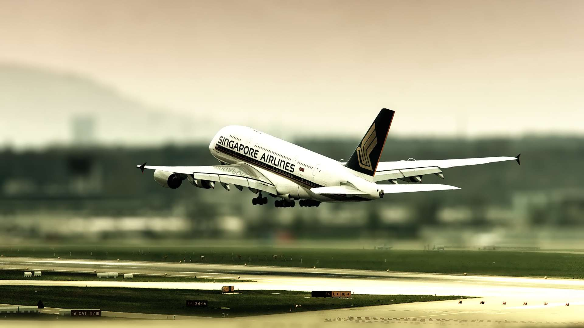 Airbus A380 Singapore Airlines Landing HD Wallpaper 1920x1080
